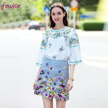 Fowice 2017 New Arrival Eleagnt 2 Pieces Flare Sleeve White Tops + Flowers Above Knee Skirt Fashion Cute Embroidery Women Suit