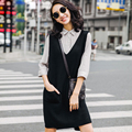 2016 spring V-neck placketing medium-long sleeveless sweater pullover sweater vest dress female