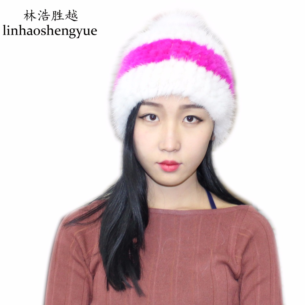 Linhaoshengyue fashion  Real fur  mink fur women hat  cap  winter warm  freeshipping