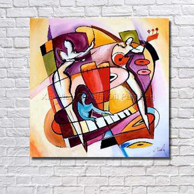 Freies Verschiffen Musik Malerei Handgefertigte Abstrakte Kunst Malerei  Wand Dekor Landschaftsbau Kunstwerk Gemalt Moderne Leinwand