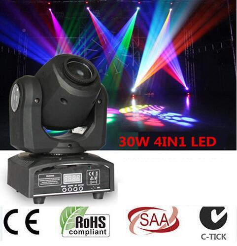 led 4IN1 30W mini led spot moving head light Mini Moving Head Light 30W DMX dj 8 gobos effect stage lights/ktv bar disco