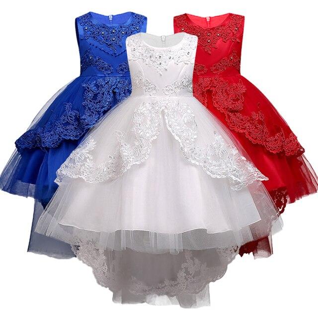 Crianças bordado arrastando mostrar mostrar vestido de festa da moda rendas flor menina menino Peng Peng vestido de noiva arrastando perfurados.