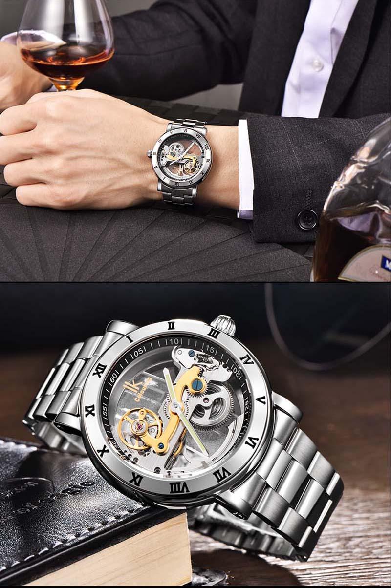 montre de luxe en acier inoxydable squelette Transparent