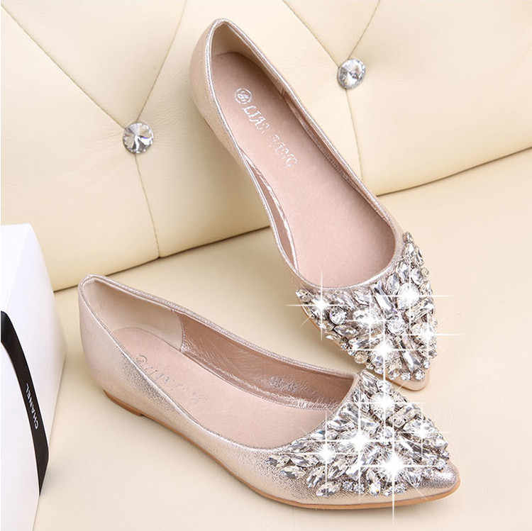 Fashion women Ballet shoes leisure spring pointy ballerina bling Rhinestone flats  shoes princess shiny Crystal wedding 006ec95b5036
