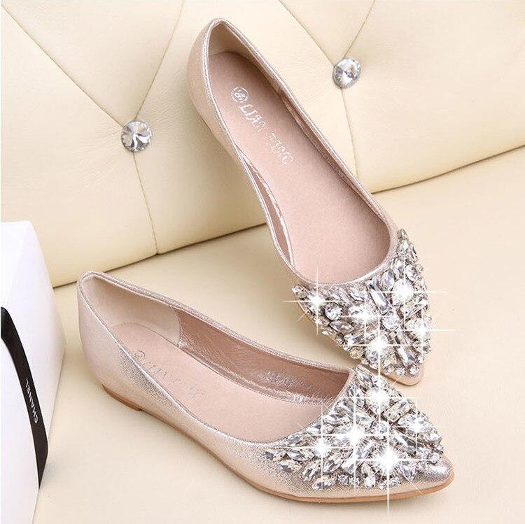 Moda feminina sapatos de ballet lazer primavera bailarina pontiaguda bling strass sapatos planos princesa sapatos de casamento de cristal brilhante