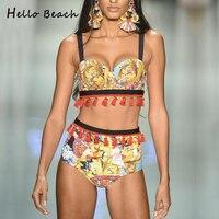 Hello Beach 2018 Push Up Bikinis National Wind Bathing Suit Fringe Biquinis Swimwear Female Tassel Swimsuit