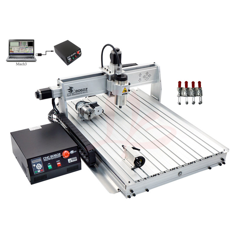 Mini CNC router 8060 1.5kw 4 axis cutting machine with USB port and limit switch mini cnc router metal cutting machine