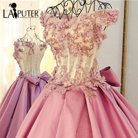 Charming Short Sleeves Ball Gown Pearls Beaded Handmade Flowers Appliques Pink Sexy Long Satin Dress Dubai
