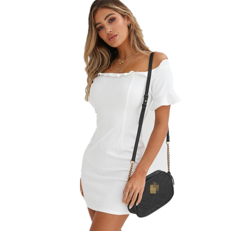 LOSSKY White <font><b>Off</b></font> <font><b>Shoulder</b></font> <font><b>Bodycon</b></font> Mini Dress <font><b>Sexy</b></font> Slash Neck Ruffles Slim Women's Summer <font><b>Club</b></font> <font><b>Party</b></font> Dress <font><b>Elegant</b></font> <font><b>2018</b></font> New Dress image