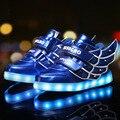 Primavera outono moda infantil shoes com luz sapatilhas crianças de carregamento usb shoes meninas meninos casual sports shoes com asas