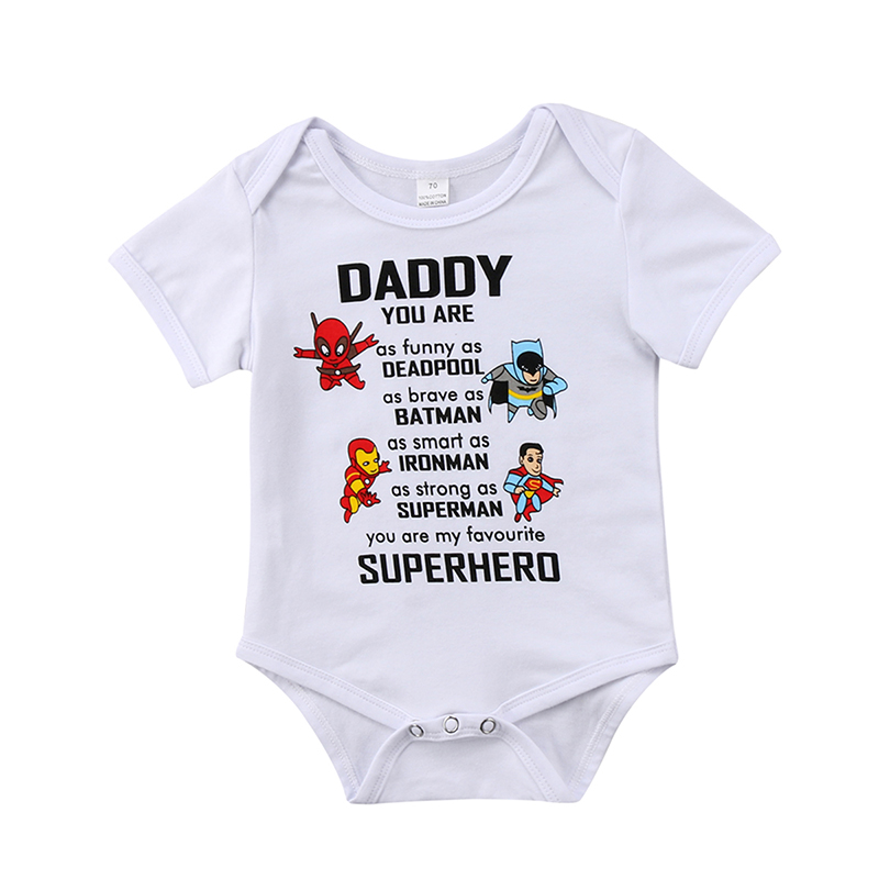 0-18M Infant Newborn Baby Superhero Clothes Short Sleeve Cartoon Romper Jumpsuit Outfits Baby Clothing
