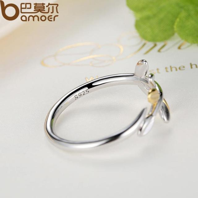 Sterling Silver Laurel Leaves Ring