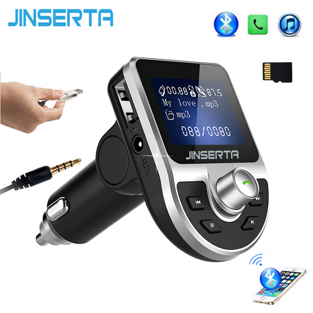 цена на JINSERTA Wireless Bluetooth Car FM Transmitter Modulator LED Display Auto Music Player Dual USB Car Charger Handsfree AUX TF