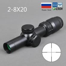 2-8x20 прицел Mil точка Сетка прицел снайперской винтовки охотничьи прицелы тактический прицел страйкбол пневматические пистолеты