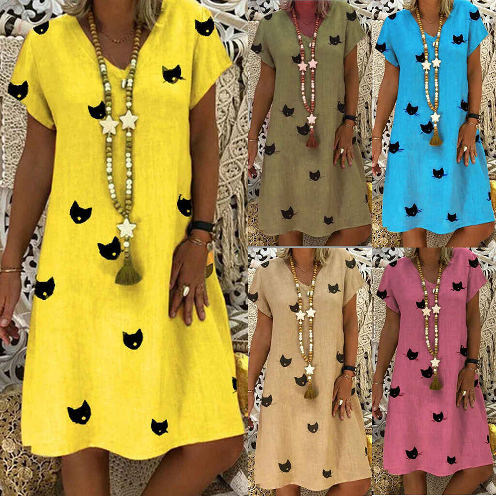 2019 New Fashion Womens Cat Print V-Neck Midi Dress Evening Party Summer Beach Casual Loose Short Sleeve Sundress