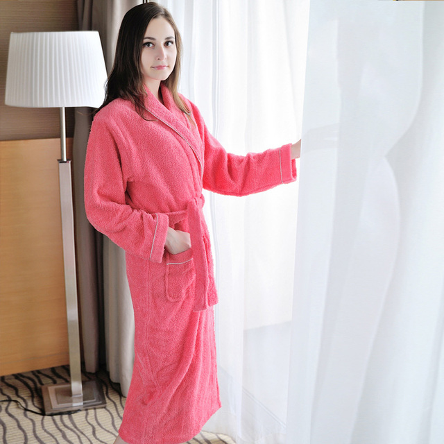 634fe0bc5a cotton thickening towel material bathrobes lady cotton soft suction  bathrobe couple night gowns