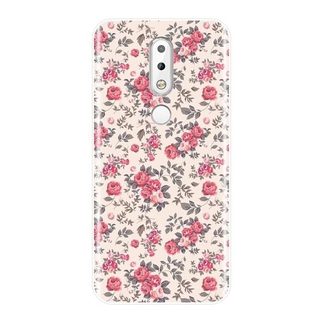 Coque téléphone pour Nokia 7.1 6.1 5.1 3.1 2.1 Plus Silicone souple Rose fleur jaune bleu couverture arrière pour Nokia 2.1 3.1 5.1 6.1 7.1