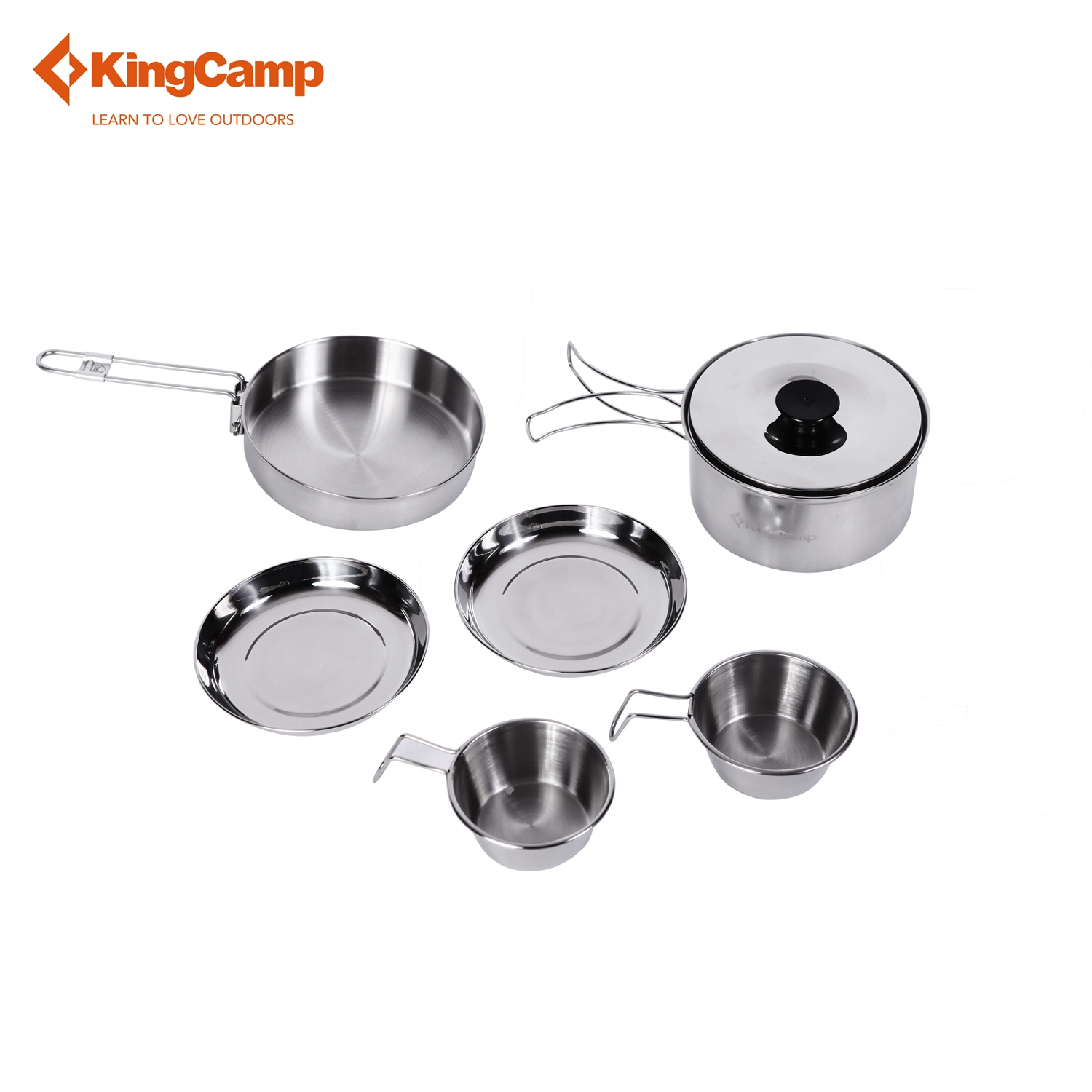 купить KingCamp 7pcs Portable Stainless Steel Cookware Set for Camping Hiking Includes Pot Frypan Plates Bowels Carry Bag Dinner Set недорого