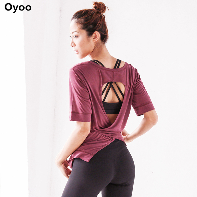 088be0d345 Oyoo Wrapped Women Sports T Shirt Yoga Top Sexy Tied Back Workout Shirts  White Gym Fitness Tops Athletic Clothes- 6 colors