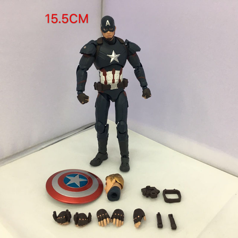 Free Shipping 6 The Avengers Hero Captain America SHF Movable Vee. Boxed 15cm PVC Action Figure Collection Model Doll Toys Gift the avengers 2 captain america 1 6 scale movable pvc action figure collectible model toy doll 32cm hot