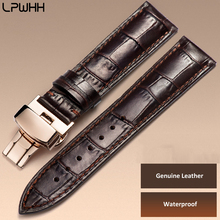 LPWHH Genuine Leather Watch Strap 19mm 20mm 21mm 16 18 Waches Belt Wrist Brown Black 316L S Butterfly Buckle Watchband