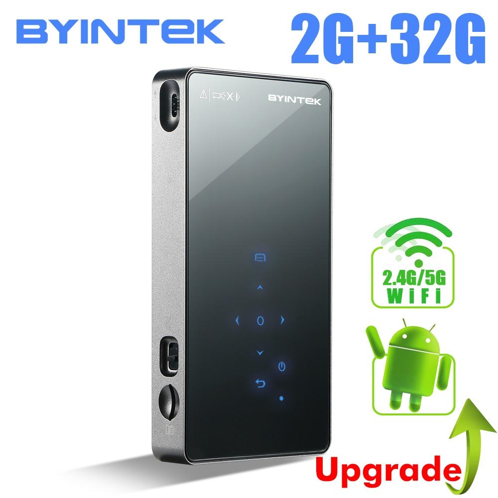 BYINTEK OVNI P8I (2G + 32G) android 7,1 OS Pico bolsillo HD portátil láser Micro WIFI Bluetooth Mini LED, proyector DLP con batería