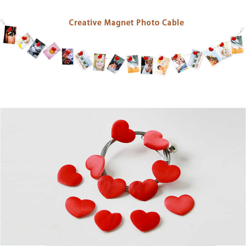 2pcs 3M High Quality Silver Magnetic Cable Photo Or Card Holder With 16 fabric Heart Image Magnet Marriage Room Layout