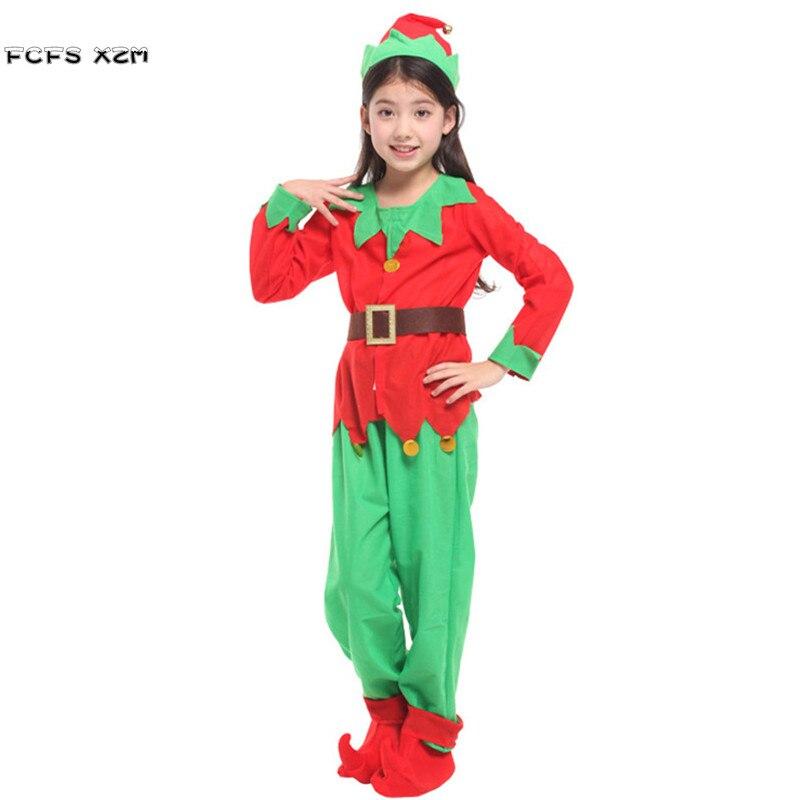Хэллоуин Рождество партии костюмы для Обувь для девочек детское красное эльфы Санта Клаус cosplays карнавал Пурим шоу на сцене маскарад платье