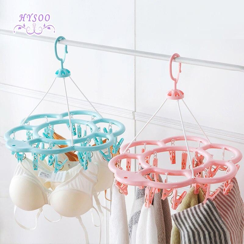 Multi - clip sun hosier hanger plastic drying clothes drying racks multi - functional baby racks