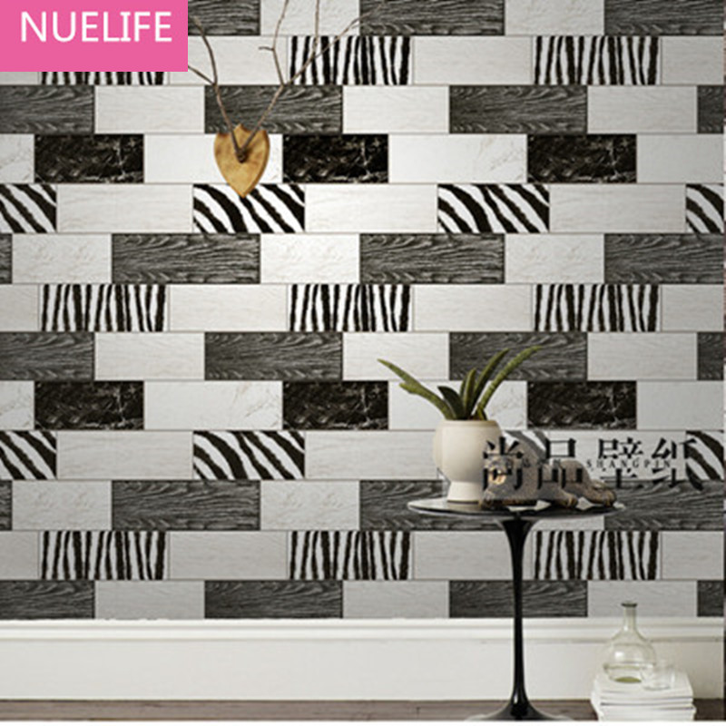 0.53x10m Black and white board pattern wallpaper living room bedroom entrance hall restaurant bar coffee shop  wallpaper