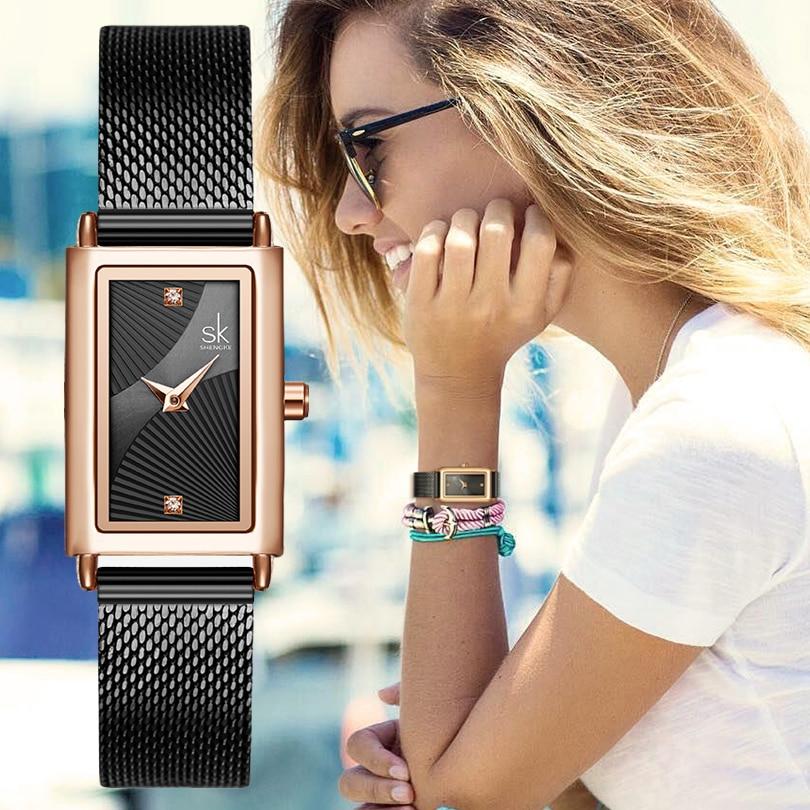 SHENGKE Fashion Rectangle Dial Quartz Watches Women's Luxury Brand Wristwatches Lady Black Stainless Steel Mesh Band Watch Clock