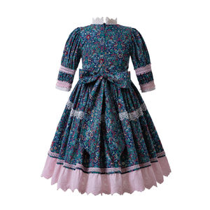 Image 3 - Pettigirl الأزرق الصغيرة الأزهار المطبوعة نقطة الدانتيل جميل س الرقبة حفل زفاف بالتواصل فساتين طويلة B469 (طول الفستان تحت الركبة)