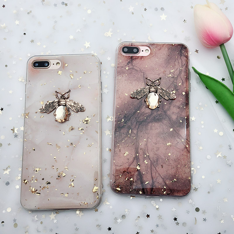 Shining 3D Metal Bee Phone Case For Huawei P20 P30 <font><b>lite</b></font> Mate 10 20 Pro Glitter <font><b>Gold</b></font> Foil Soft Cover For Huawei <font><b>Honor</b></font> 10 8X <font><b>9</b></font> image