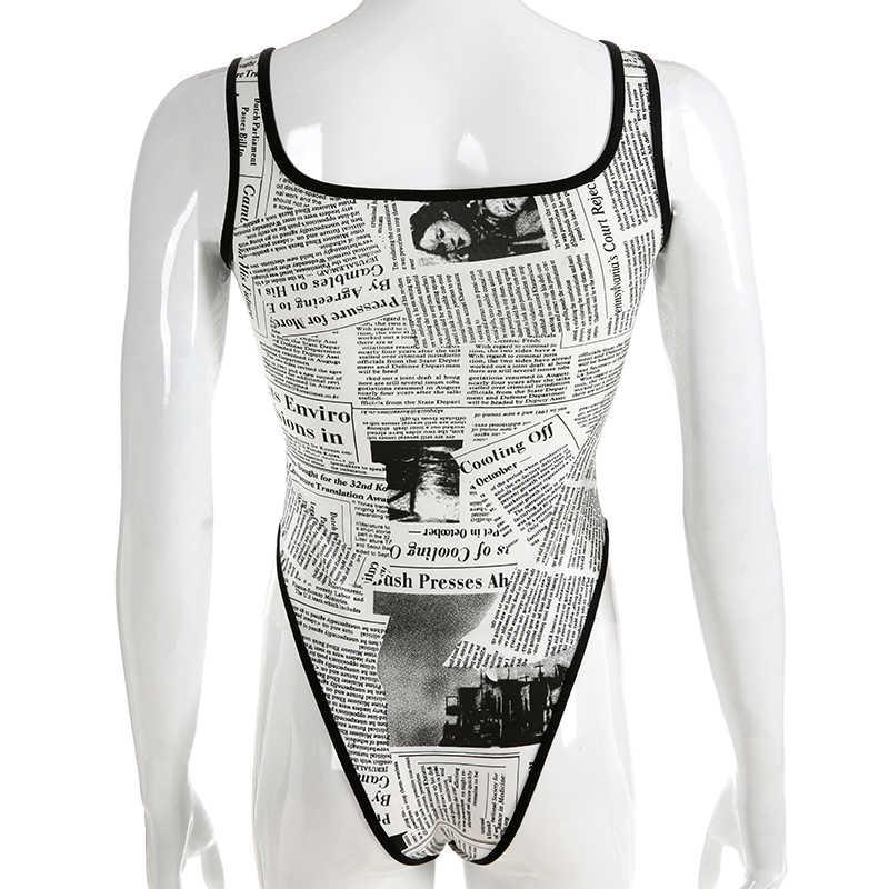 HEYounGIRL летний облегающий костюм без рукавов Женский Повседневный сексуальный боди Женский черный белый с принтом женский топ для тела Вечерние из хлопка