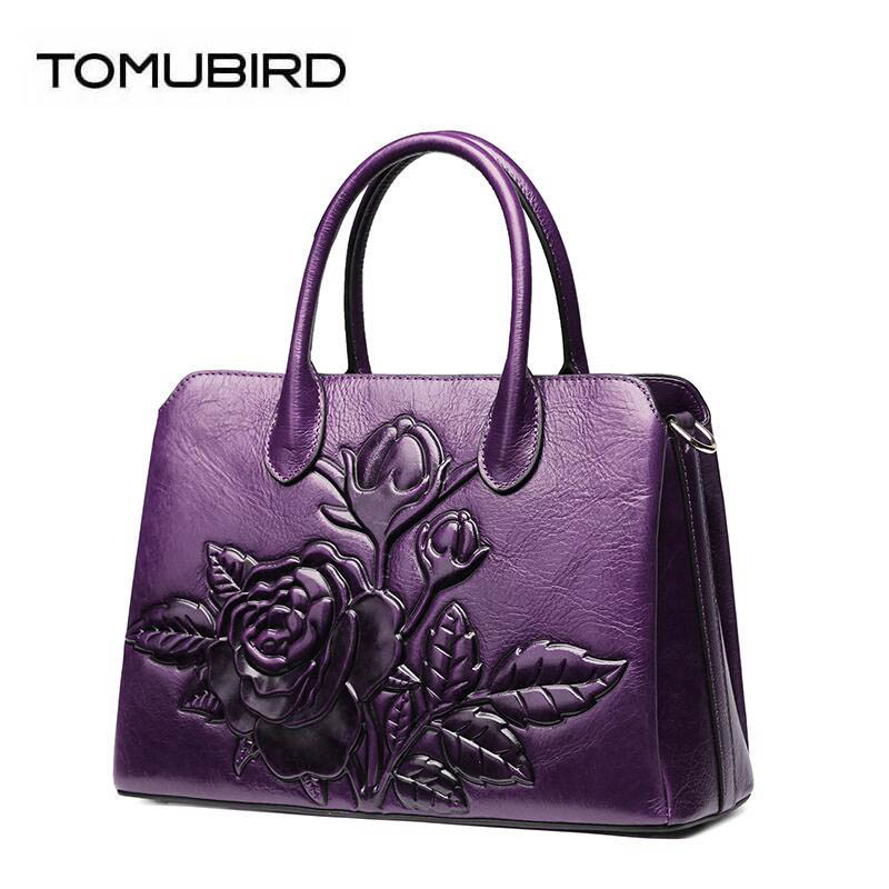 TOMUBIRD new superior cowhide leather Designer Floral Collection famous brand women bag fashion Tote women genuine leather bag 2018 new superior cowhide leather classic designer hand embossing top leather tote women handbags genuine leather bag medium bag