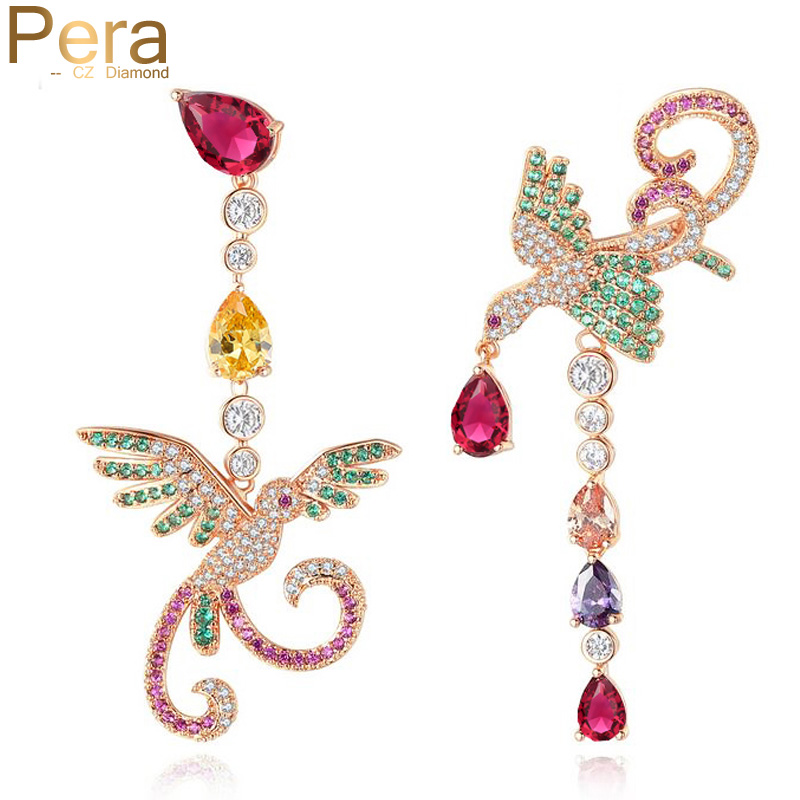 Pera Brand Unique Style Sterling Silver 925 Pin Colorful Cubic Zirconia Big Bird Shape Women Drop Earrings Bijoux For Party E325 long chain enamel bird shape drop earrings