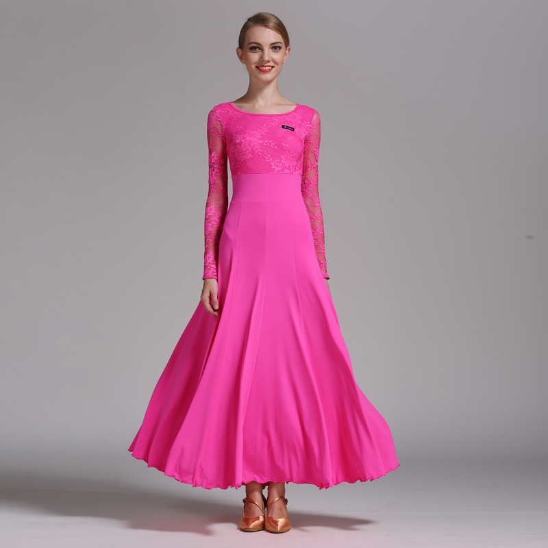 Robe de danse de salon lait soie à manches longues dentelle moderne danse Costume femmes salle de bal danse valse robes pratique porter DN1236