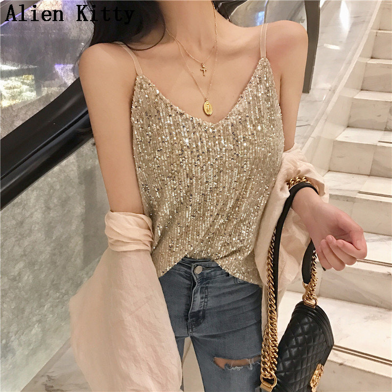 Alien Kitty 2019 Sexy Appliques Fresh Fashion Vintage Sexy Slim Sequins All Match New Summer   Tank     Top   Female Camis 2 Colors