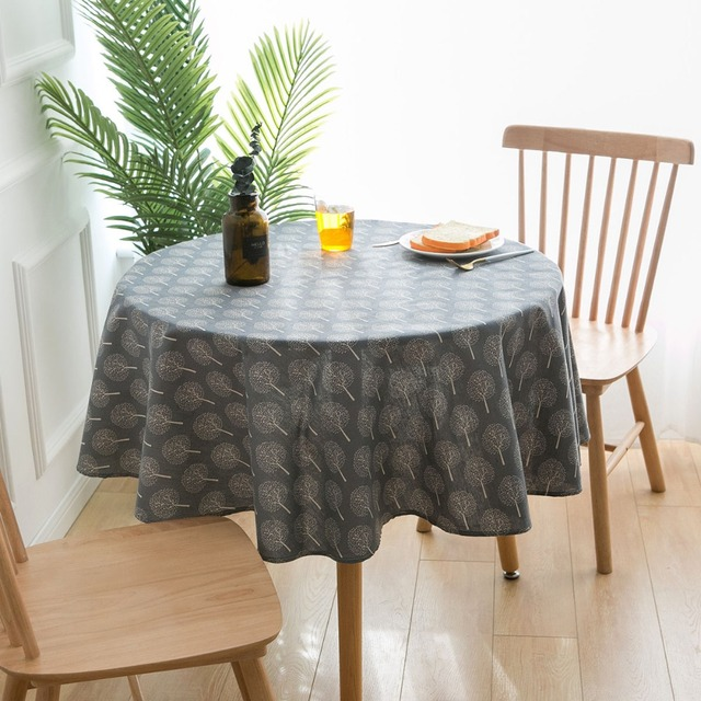 Cotton Linen Tablecloth for Round Dining Table