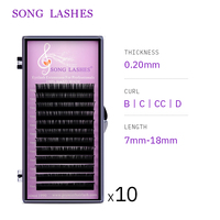 SONG LASHES False Eyelash Extensions Soft Thin Tip Flat Roots B,C,CC, D curl 0.20 thickness Ten trays per pack