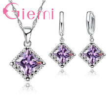 Antique Style 925 Sterling Silver Wedding Jewelry Sets for Women Brides Rhombus Cubic Zircon Stone Pendant Necklace Earrings(China)