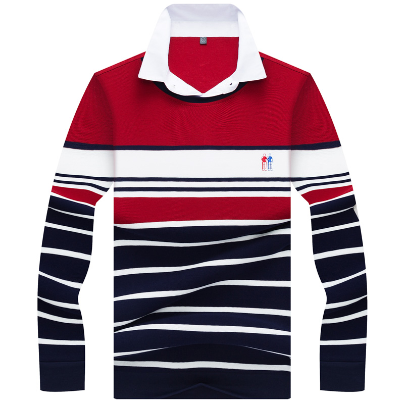 Brand Men's   Polo   Shirt Tace & Shark Pullovers Turn-Down Collar Luxury Business Striped   polos   shirt para hombre men Casual Tops