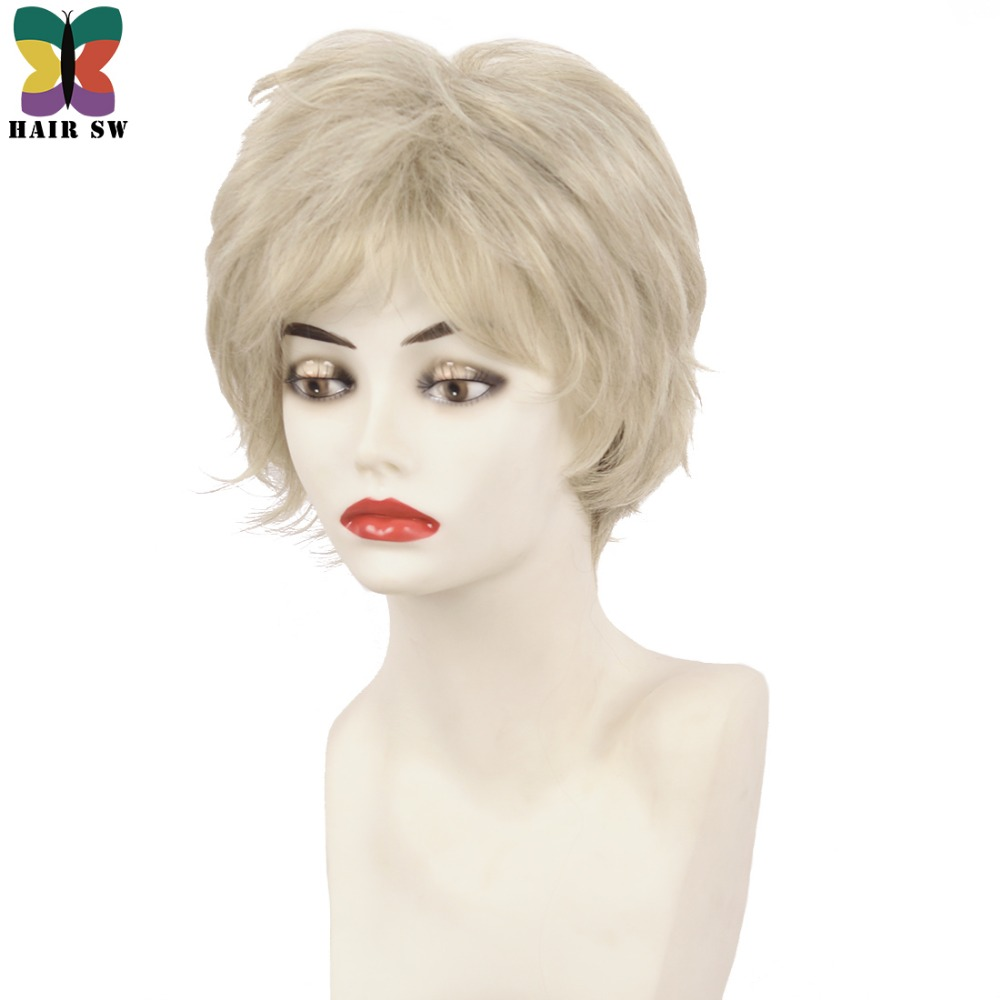 Fluffy Short Layers Classic Cut Curly Synthetic Wigs Light Blonde 20% Grey Platinum highlights Women's Wig By HAIR SW