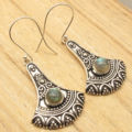 Blue Fired LABRADORITE Earrings ! Silver Plated Jewelry Shine From Every Angle 5.1 cm
