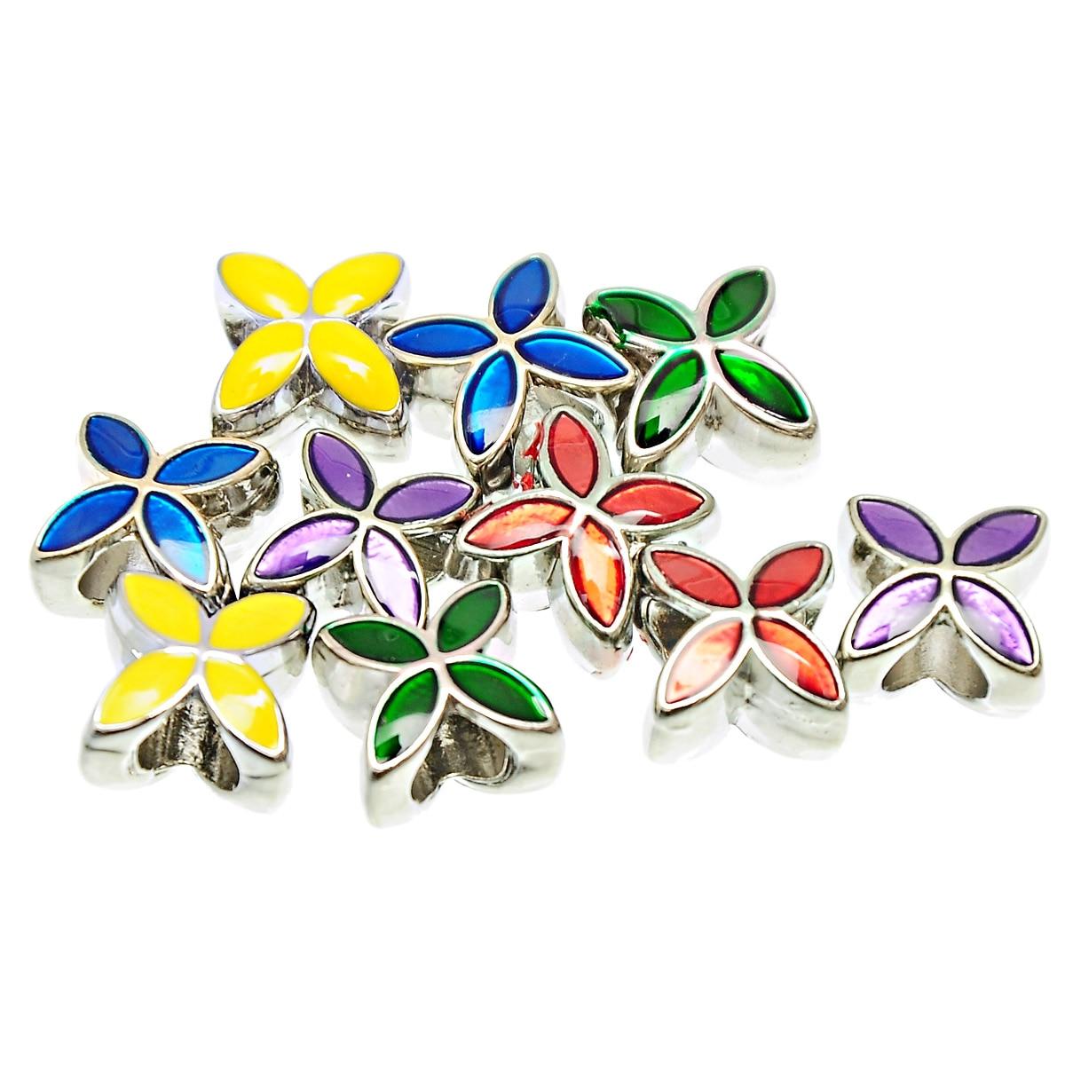 DoreenBeads 10 PCs Mixed Enamel 4 Petals Flower Charms Beads Fit European Cha
