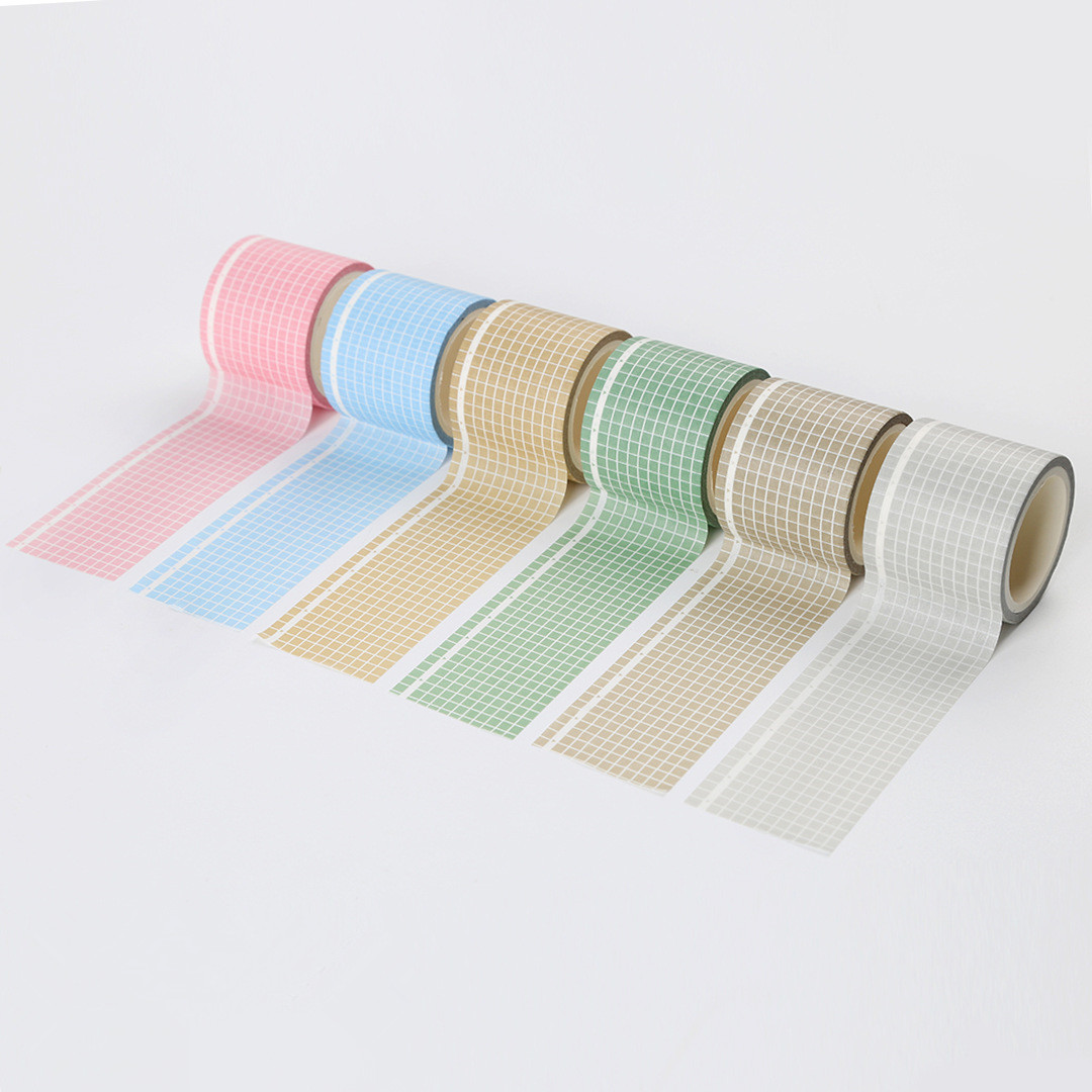 35mm*5m Solid Color Grid Washi Tape Japanese Paper DIY Planner Masking Tape Adhesive Tapes Stickers Decorative Stationery Tapes