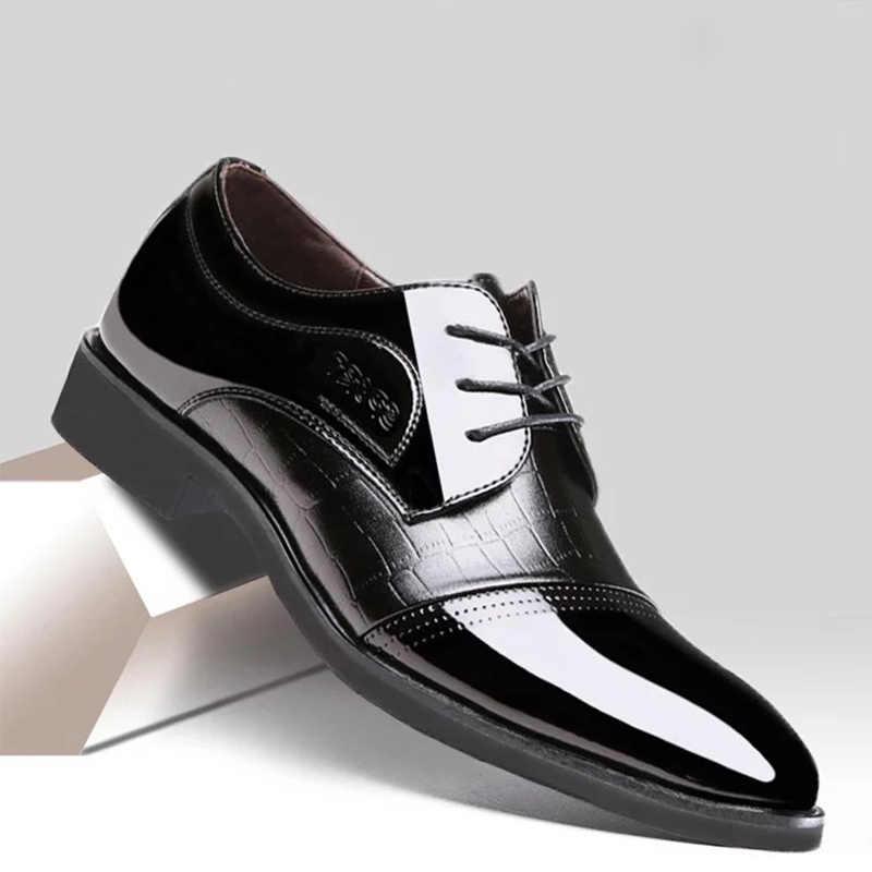REETENE/новые кожаные оксфорды в деловом стиле, мужская обувь на шнуровке, деловая обувь, мужская обувь с острым носком, Мужские модельные туфли для свадьбы, размер 38-48