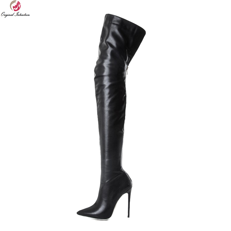 Original Intention Stylish Women Over-the-Knee Boots Fashion Pointed Toe Thin High Heels Boots Black Shoes Woman US Size 3-10.5 hot fashion spring over the knee boots sweet buckle denim women boots sexy pointed toe thin high heels shoes woman zapatos mujer