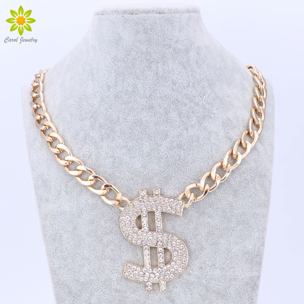 Fashion Gold Chain Rhinestoned Big Dollar Sign Pendant Chain Necklace For Women