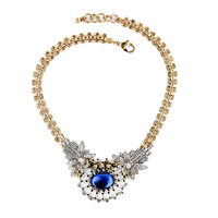 New Brass Chain Statement Necklace Pendant Blue Glass Stone Flower Crystal Petal